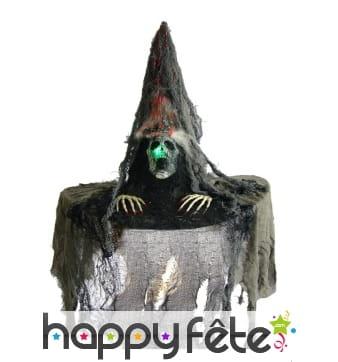 Chapeau de sorcière tête de mort lumineuse