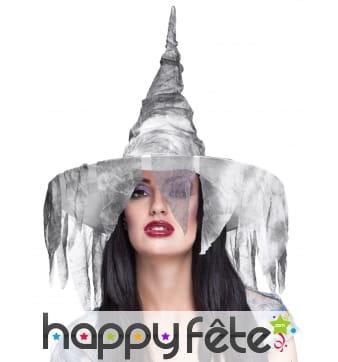 Chapeau de sorcière voile délavé gris