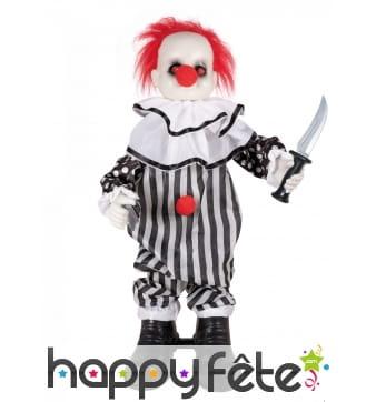 Clown décoratif sonore et animé de 80cm