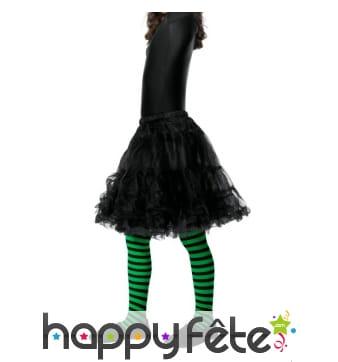 Collants de sorcière pour enfant, vert et noir