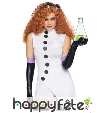 Costume de scientifique fou et sexy pour femme