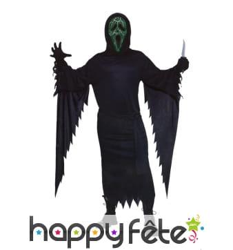 Costume de scream avec masque lumineux nervuré