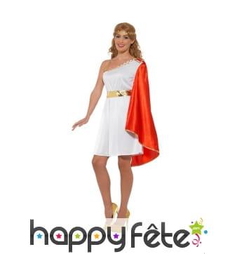 Costume de sénatrice romaine avec toge rouge
