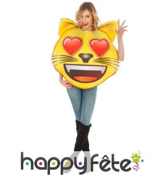 Costume de smiley chat amoureux pour adulte