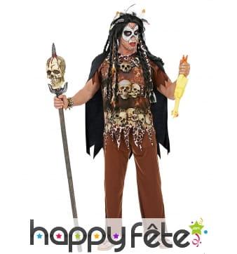 Costume de sorcier vaudou avec cape pour adulte
