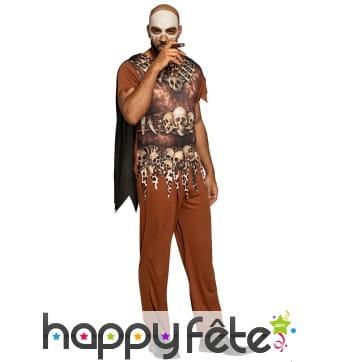Costume de sorcier vaudou marron avec capeline