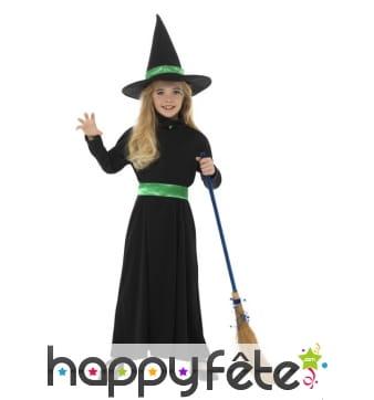 Costume de sorcière noir et vert pour enfant