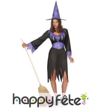 Costume de sorcière noir et violet, robe découpée