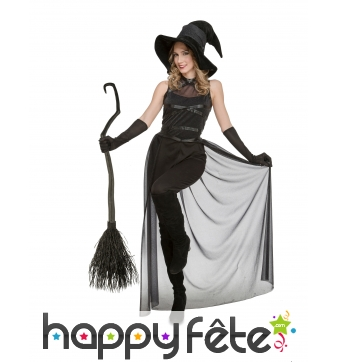 Costume de sorcière noire avec traine transparente