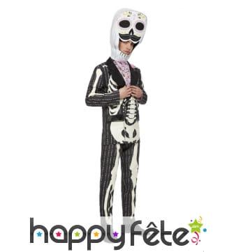 Costume de squelette avec grosse tête pour homme