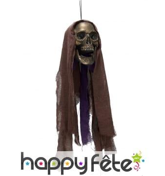 Crâne de spectre squelette lumineu à suspendre