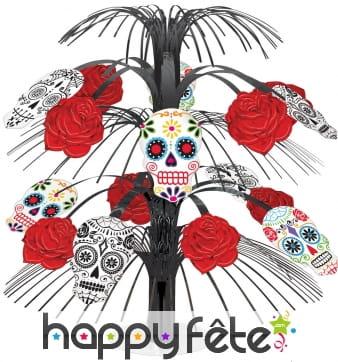 Centre de table Dia de los Muertos et roses