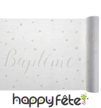 Chemin de table blanc de baptême