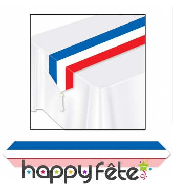 Chemin de table drapeau français de 180 x 30 cm