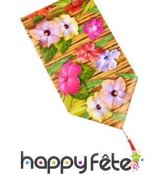 Chemin de table imprimé fleurs d'hibiscus
