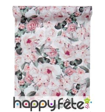 Chemin de table imprimé fleurs roses