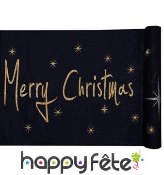 Chemin de table Merry Christmas noir, 5m