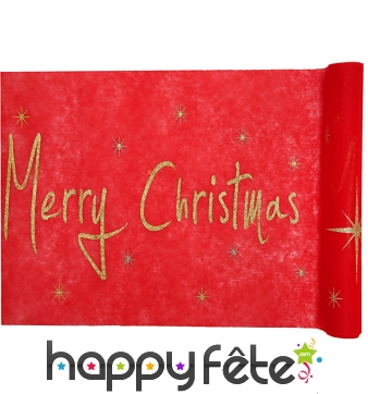 Chemin de table Merry Christmas rouge