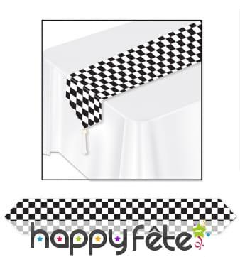 Chemin de table motif damier noir et blanc