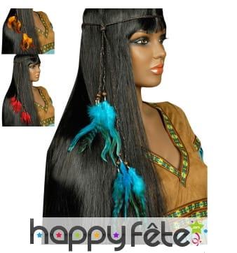 Collier de tête Indien plumes et perles