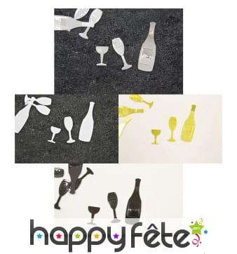 Confettis de table bouteille de bulle et verre