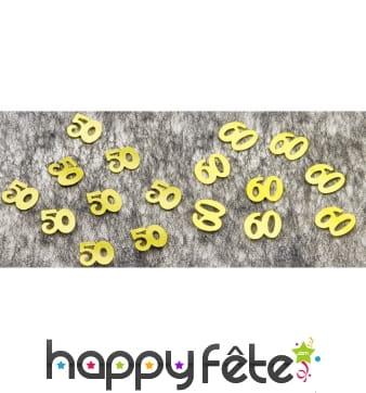 Confettis de table en forme de chiffre 50 ou 60