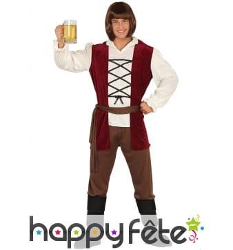Costume de tavernier médiéval blanc marron homme