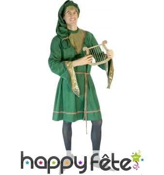 Costume de troubadour en velours vert
