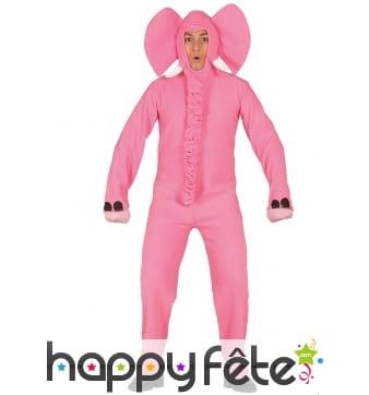 Combinaison d'un éléphant rose pour adulte