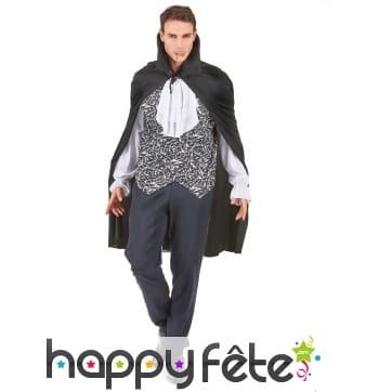 Costume de vampire avec cape et jabot blanc