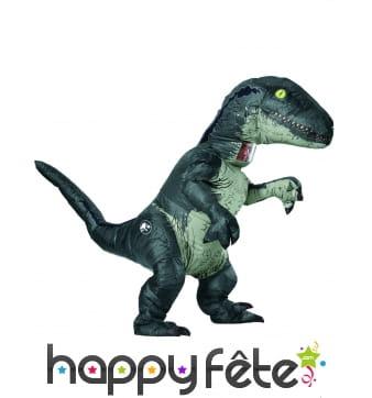 Costume de vélociraptor gonflable sonore, adulte