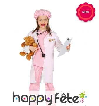 Costume de vétérinaire rose pour fille