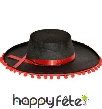 Chapeau espagnol adulte noir avec pompoms rouge