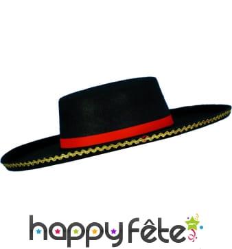 Chapeau espagnol adulte noir galonné