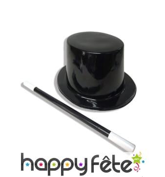 Chapeau et baguette de magicien pour adulte