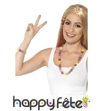 Collier et bracelet hippie multicolores