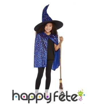 Cape et chapeau de sorcière bleue pour enfant