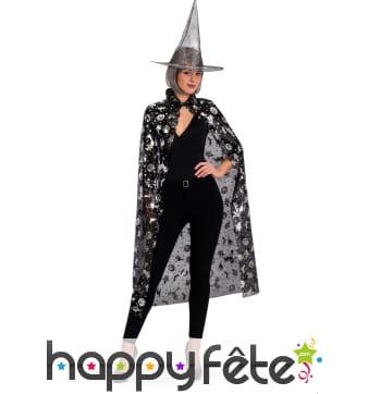 Chapeau et cape de sorcière noirs motifs halloween