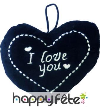 Coussin en coeur noir i love you
