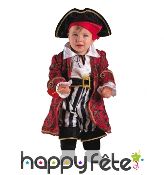 Costume élégant de bébé capitaine pirate