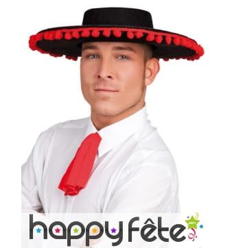 Chapeau espagnol en feutrine noir, bord rouge