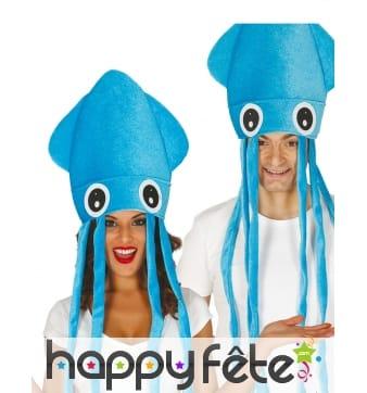 Chapeau en forme de poulpe bleu