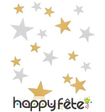 Confettis en forme d'étoiles dorées et blanches