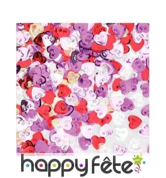 Confettis en forme de coeurs multicolores, 14g