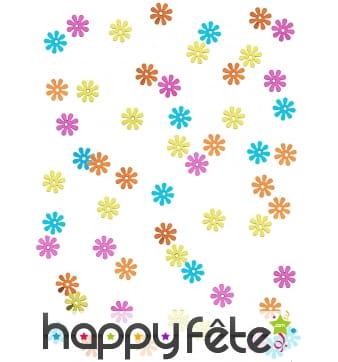 Confettis en forme de fleurs Hippie colorées