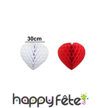 Coeur en papier alvéolé, 30 cm