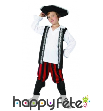 Costume enfant pirate pantalon rouge et noir