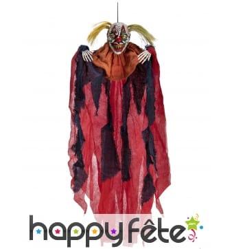 Clown épouvantail rouge et noir effrayant de 65 cm