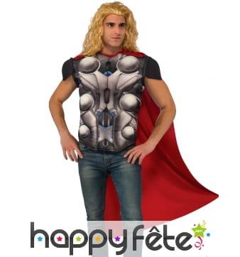 Cape et T-shirt musclé de Thor pour homme