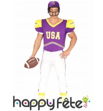 Costume footballeur américain violet pour adulte
